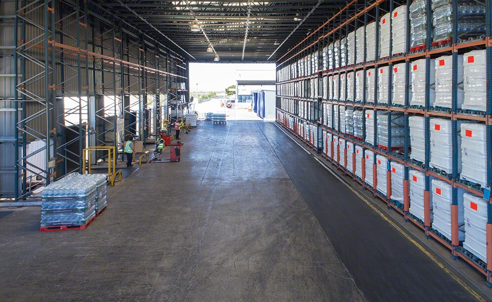 San Benedetto's clad-rack warehouse with live racks