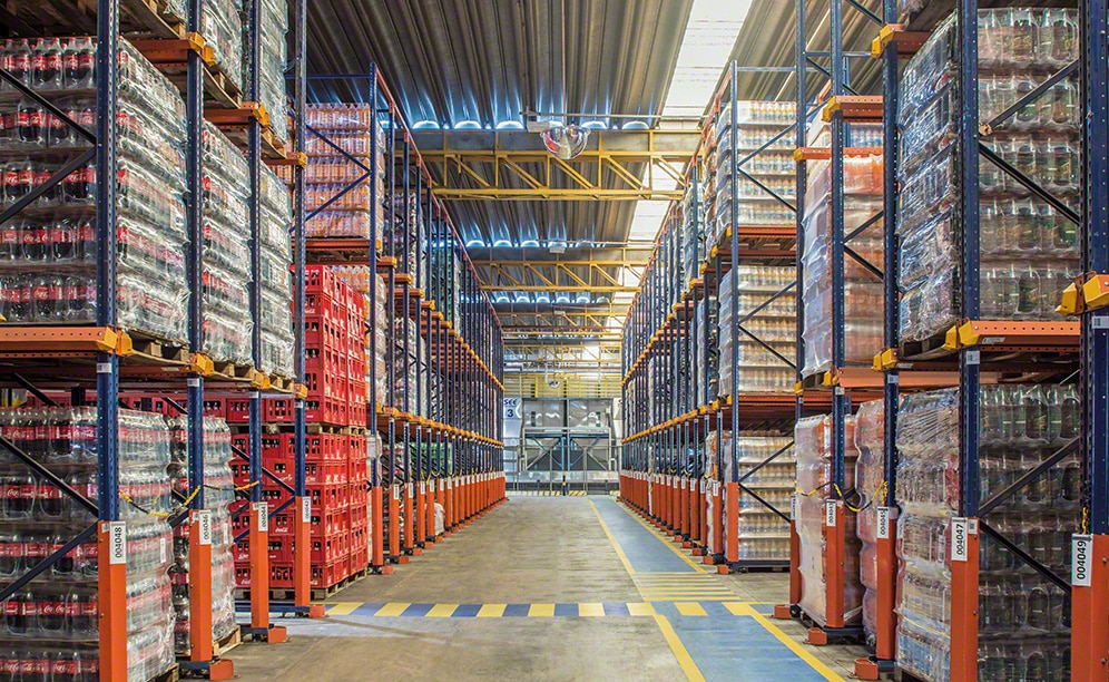 Some 6.5 high drive-in pallet racks store 6,840 pallets