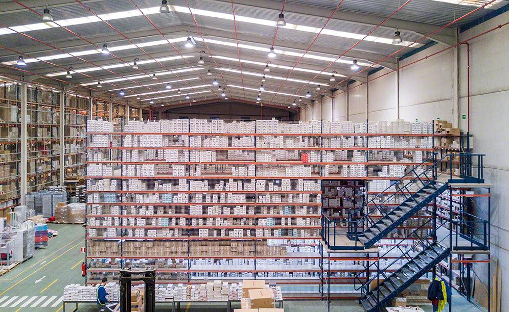 The racks are 7 m high with walkways or raised aisles attached to them
