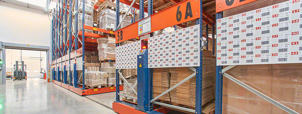 Movirack mobile pallet racking at Del Conte's installation