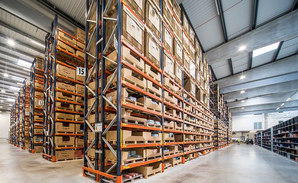 Pallet racks in the bilstein group warehouse in Portugal