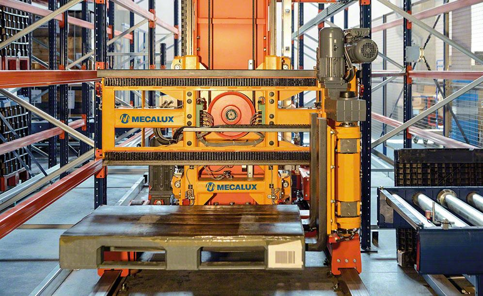 Trilateral stacker crane in the SMA Magnetics warehouse