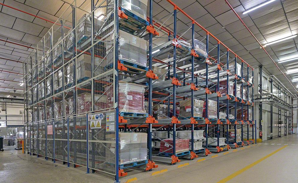 The warehouse comprises four aisles with double-depth racking