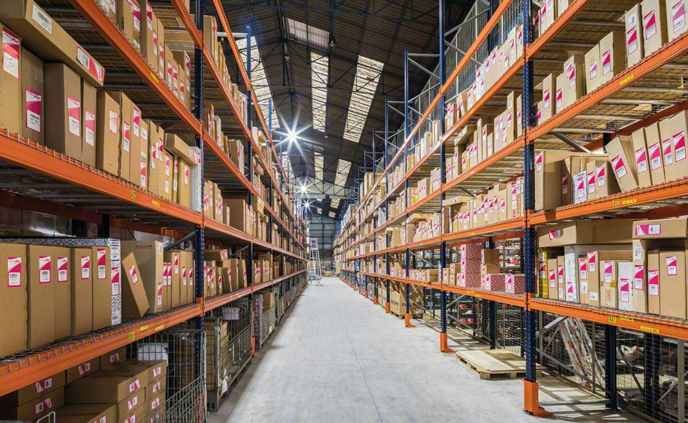 The sides of the warehouse are lined with pallet racks for over-sized products