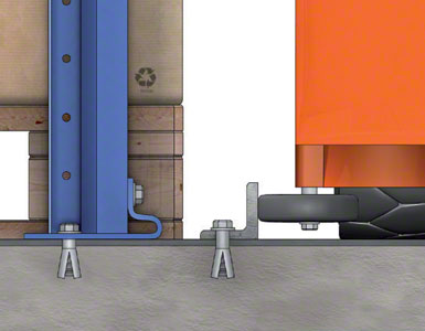 "The pallets sit directly on the floor. An ""L"" shaped rail attached to the floor acts as the guide."