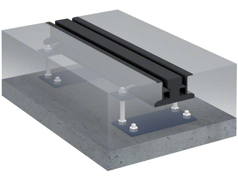 Guide rail for mobile racking.