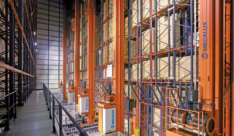 Double-deep racking in the warehouse of a pharmaceuticals company.