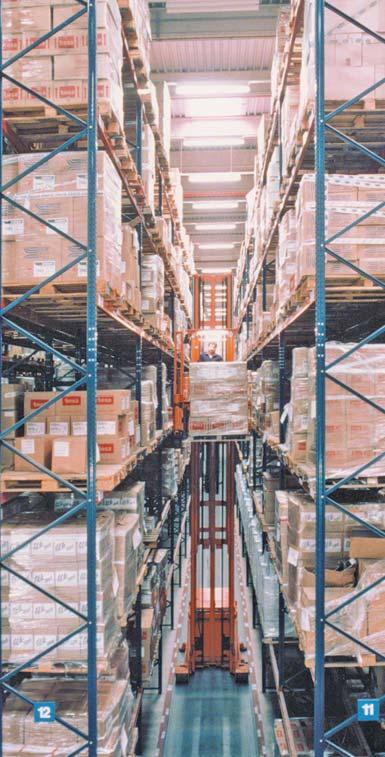 Trilateral turret truck run warehouse