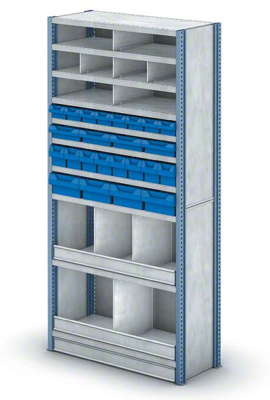 Shelving unit with small-sized pigeonholes
