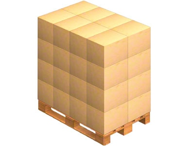 A pallet where the packaging boxes sent by the supplier are placed. Goods can come pre-palletised.