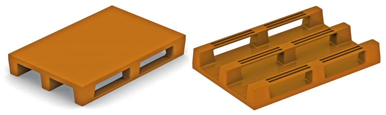 These plastic pallets are manufactured in the same way as wooden europallets. There is no reason why they should cause problems unless they are not strong enough.