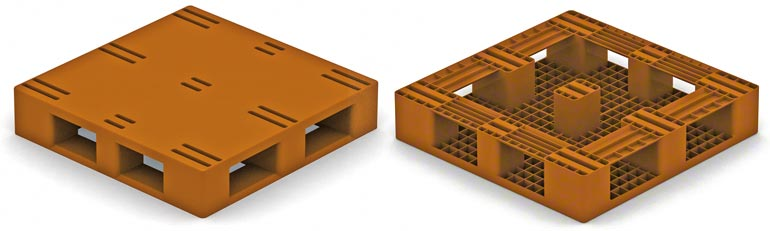 This model is very similar to the type 2 wooden pallet, with perimeter skids. The restrictions are the same as for those pallets.