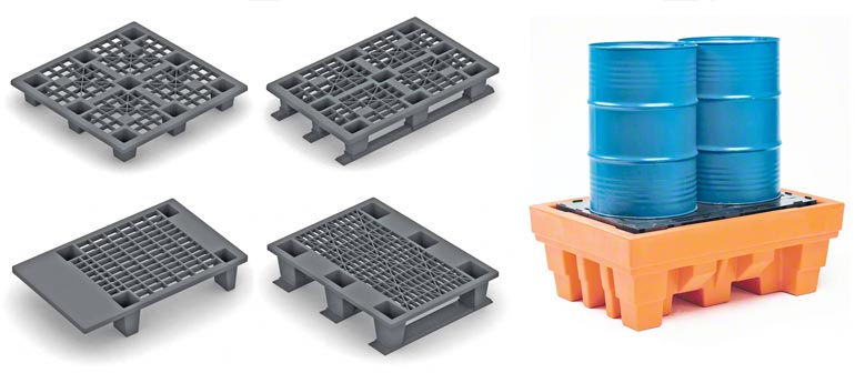 Different plastic pallet models. Image provided by Disset.
