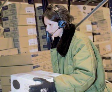 This voice picking system is used in an automated logistics centre