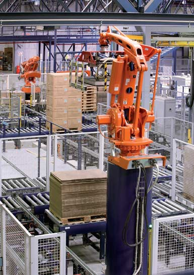 Image of an anthropomorphic robot handling pallets