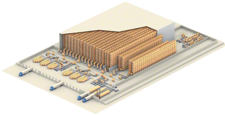 Example of a central warehouse for logistics operations