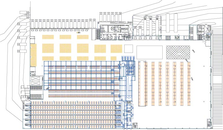 Sketch of the different sections in a central warehouse.