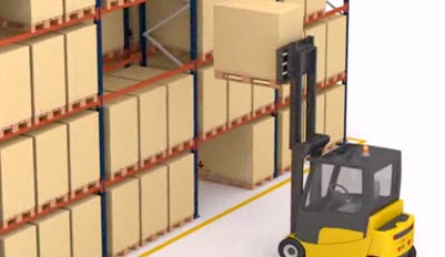 Forklift loads palletised goods from buffer on triple-width pallet racks.