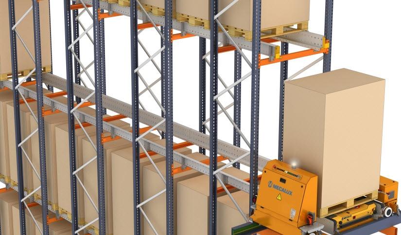 Automatic Pallet shuttle with transfer car at the Cabezuelo Foods warehouse