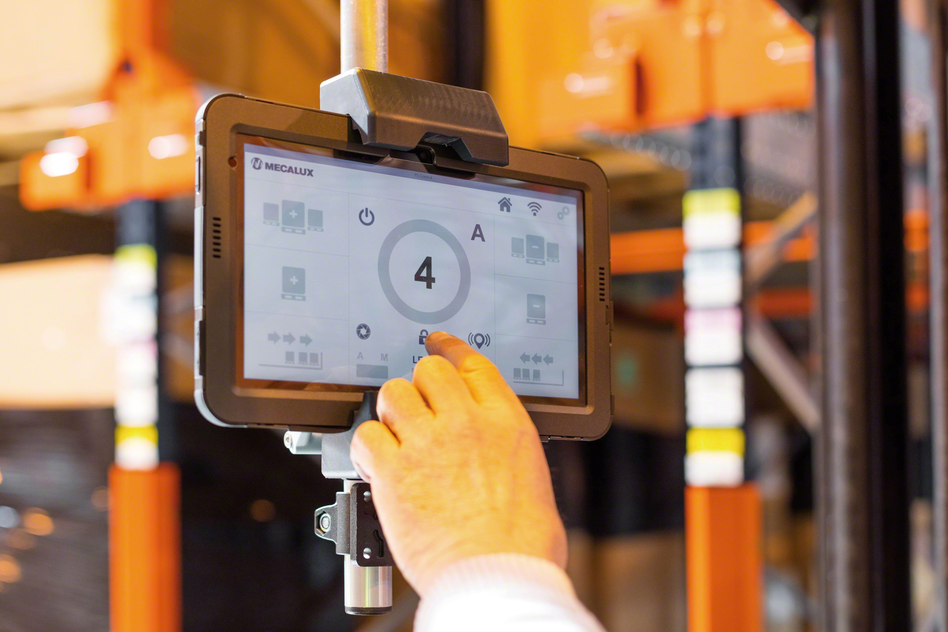 Pallet Shuttle system is remotely controlled via a Wi-Fi connected tablet