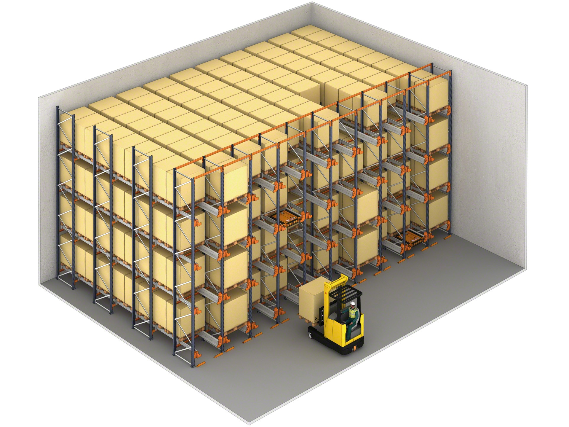 With just one order, the Pallet Shuttle can fill an entire storage channel