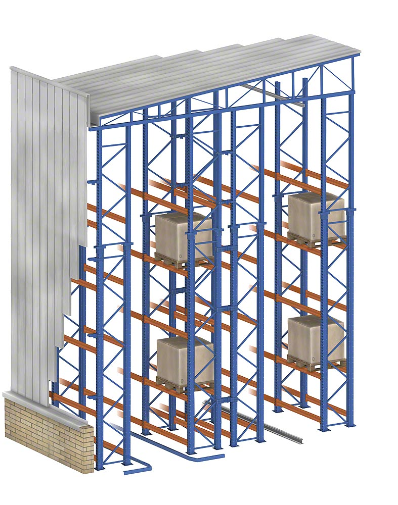 Clad-rack warehouse with floor level guide rail systems