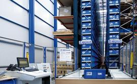 The miniload warehouse is designed to store small sized spare parts in plastic boxes of 600 x 400 mm