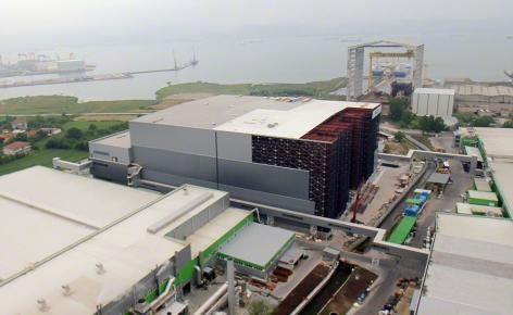 Aerial view of Hayat Kimya's spectacular clad-rack warehouse