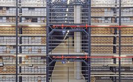 The warehouse divided into four floors is made up of racks with shelves at different levels on which the boxes containing the files are deposited
