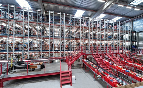 A large picking installation with conveyors to manage the online sales of 10,000 pairs of shoes a day