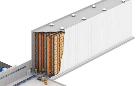 A 20 metre high clad-rack automated warehouse for the Brazilian pharmaceutical company Novamed