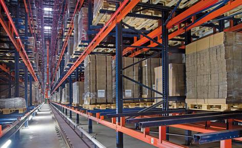 An automated clad-rack warehouse with a capacity to store more than 6,300 pallets in two working aisles