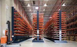 The cantilever racks are 8 m high and designed to lodge the very long load units