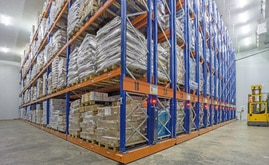 The warehouse has 16 double Movirack mobile racks, which are approximately 11 m high and 29 m long
