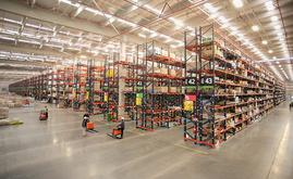 In the central part of the SMU warehouse, there are enormous blocks with 32 aisles of pallet racking